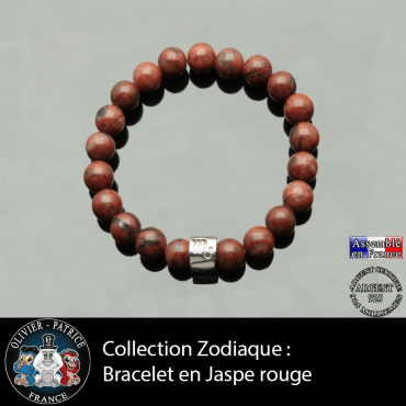 Bracelet en jaspe rouge et son signe astrologique tube