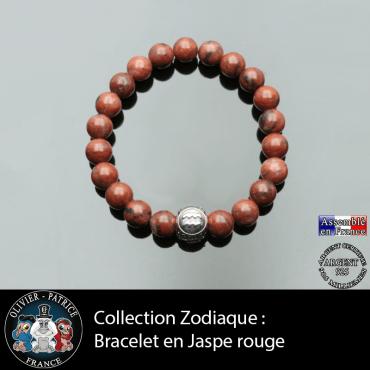 Bracelet homme en jaspe rouge et son signe astrologique boule 3 facces