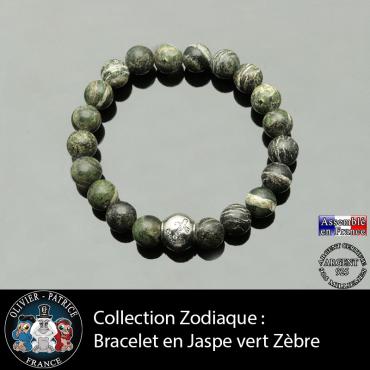 Bracelet jaspe zèbre vert et son signe astrologique boule zircon