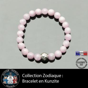 Bracelet kunzite et son signe astrologique boule zircon