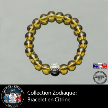 Bracelet homme en citrine et son signe astrologique en argent 925