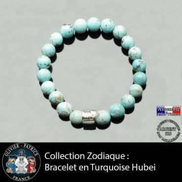 Bracelet en turquoise hubei et son signe astrologique en argent 925 véritable format tube