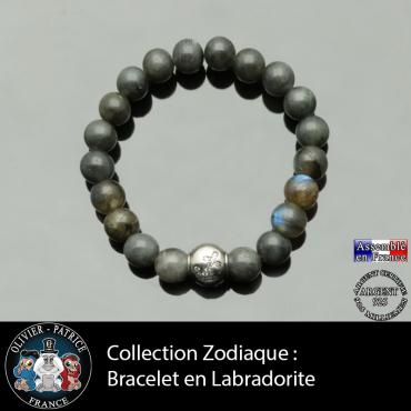 Bracelet labradorite et son signe astrologique boule zircon