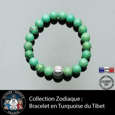 Bracelet naturel turquoise du Tibet et votre signe astrologique gravé sur une boule 3 faces d'argent 925