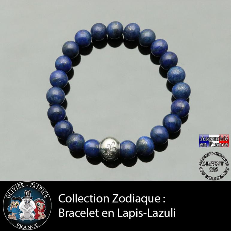 Bracelet lapis lazuli et son signe astrologique boule zircon