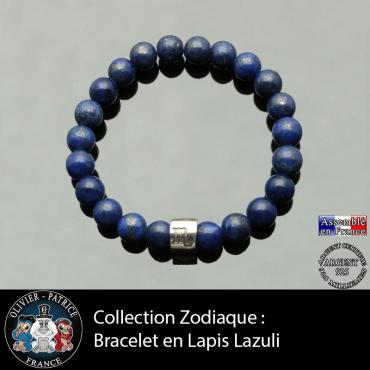Bracelet lapis lazuli et son signe astrologique tube gravé