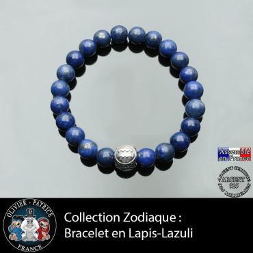 Bracelet lapis lazuli et son signe astro pour homme en boule 3 faces