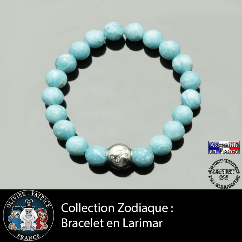 Bracelet larimar et son signe astrologique boule zircon