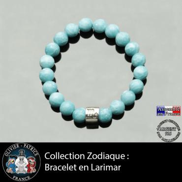 Bracelet tube argent en larimar et son signe astrologique boule zircon
