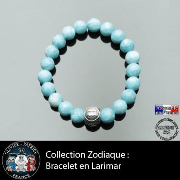 Bracelet pour homme en larimar et son signe astrologique boule