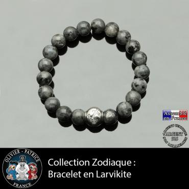 Bracelet larvikite et son signe astrologique boule zircon