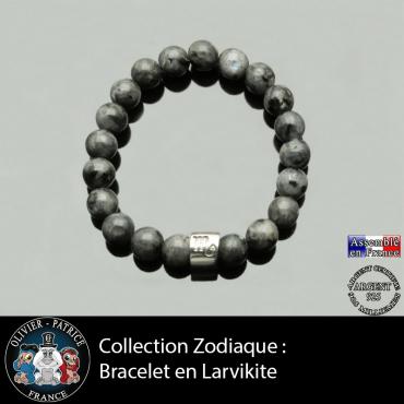 Bracelet en larvikite et son signe astrologique tube gravé de sn signe astro