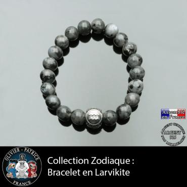 Bracelet en larvikite pour homme et son signe astrologique boule zircon