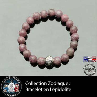 Bracelet lépidolite et son signe astrologique boule zircon