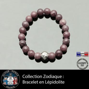 Bracelet lépidolite foncé et son signe astrologique boule gravé de son signe en zircon