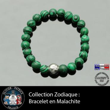 Bracelet malachite et son signe astrologique boule zircon