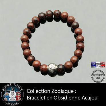 Bracelet en obsidienne acajou et son signe astrologique boule zircon