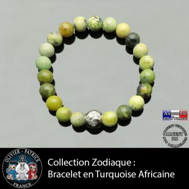 Bracelet turquoise africaine et son signe astrologique en argent 925 boule zircon