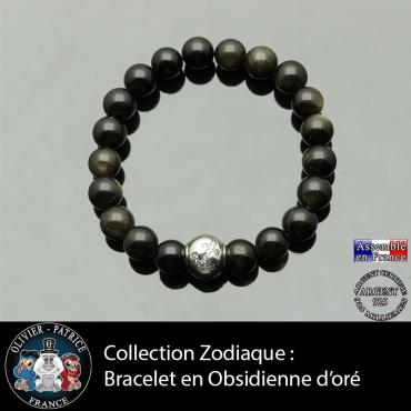 Bracelet obsidienne dorée et son signe astrologique boule zircon