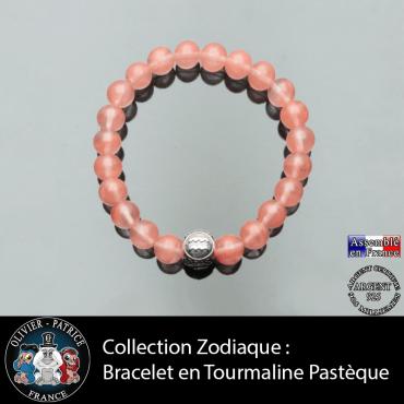 Bracelet en tourmaline rose pastèque naturelle avec une boule 3 faces gravée de son signe astrologique