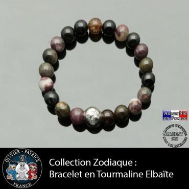 Bracelet tourmaline multicolore elbaïte et son signe astrologique en argent 925