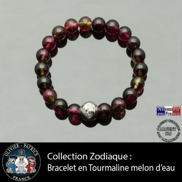 Bracelet tourmaline melon d'eau et son signe astrologique boule zircon