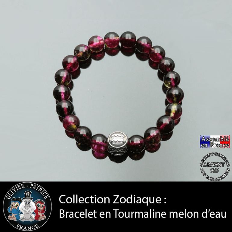 Bracelet en pierre naturelle tourmaline melon d'eau avec boule 3 faces gravée de son signe astrologique