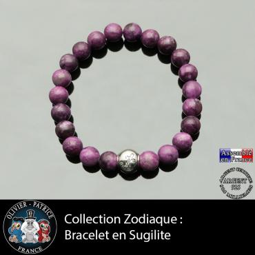 Bracelet sugilite naturelle et son signe astrologique boule zircon