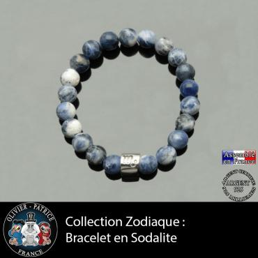 Bracelet sodalite naturelle et son signe astrologique sur tube d'argent véritable
