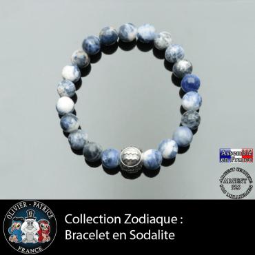 Bracelet sodalite naturelle et son signe astrologique boule gravée à 3 faces en argent 925