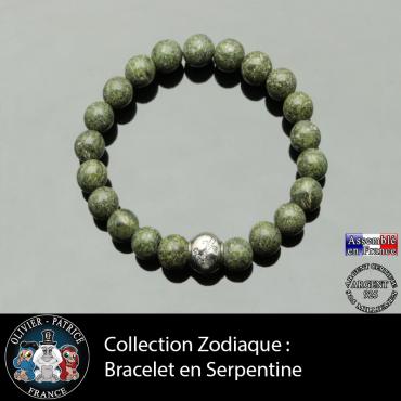 Bracelet serpentine naturelle et son signe astrologique boule zircon