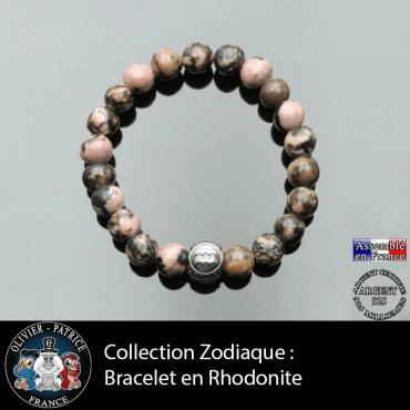 Bracelet en pierre de rhodonite naturelle et son signe astrologique gravé sur une boule 3 face en argent 925