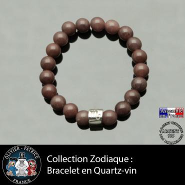 Bracelet en pierre de quartz vin et son signe astrologique sur tube en argent véritable