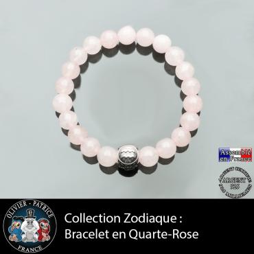 Bracelet en quartz rose naturel avec et son signe astrologique gravé sur une boule argent 925 à 3 faces