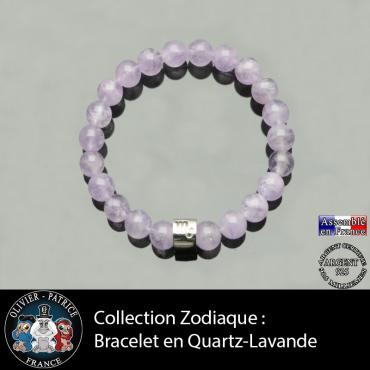 Bracelet en quartz lavande naturelle avec votre signe astrologique sur tube en argent 925