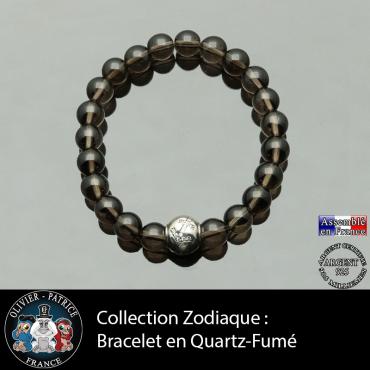 Bracelet quartz fumé et son signe astrologique en argent 925 boule zircon