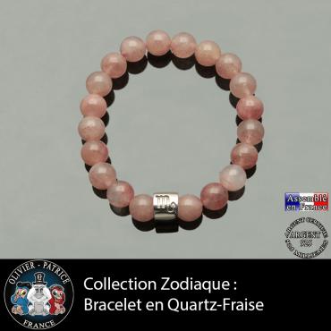Bracelet en lépidocrocite quartz fraise et votre tube argent 925 du signe astrologique