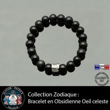 Bracelet tube en  obsidienne noire et son signe astrologique gravé
