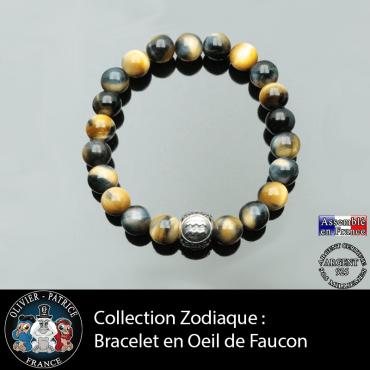Bracelet pour homme en oeil de faucon naturelle - tigre bleu et son signe astro en argent 925 boule