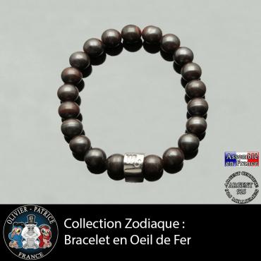 Bracelet pour homme avec sa boule 3 faces  gravé de son signe et en pierre d'oeil de fer