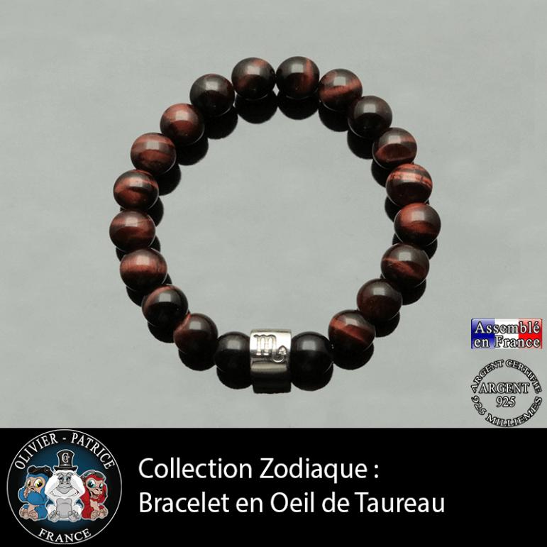 Bracelet avec son tube gravé de son signe astro et sa pierre en oeil de taureau