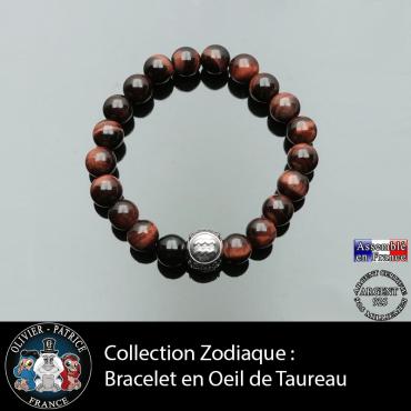 Bracelet pour homme en oeil de taureau et son signe astro sur sa boule 3 faces