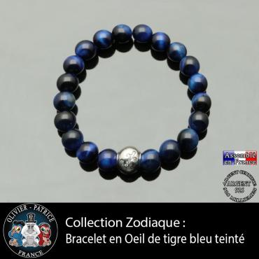 Bracelet oeil de tigre teinte bleue et son signe astrologique boule zircon