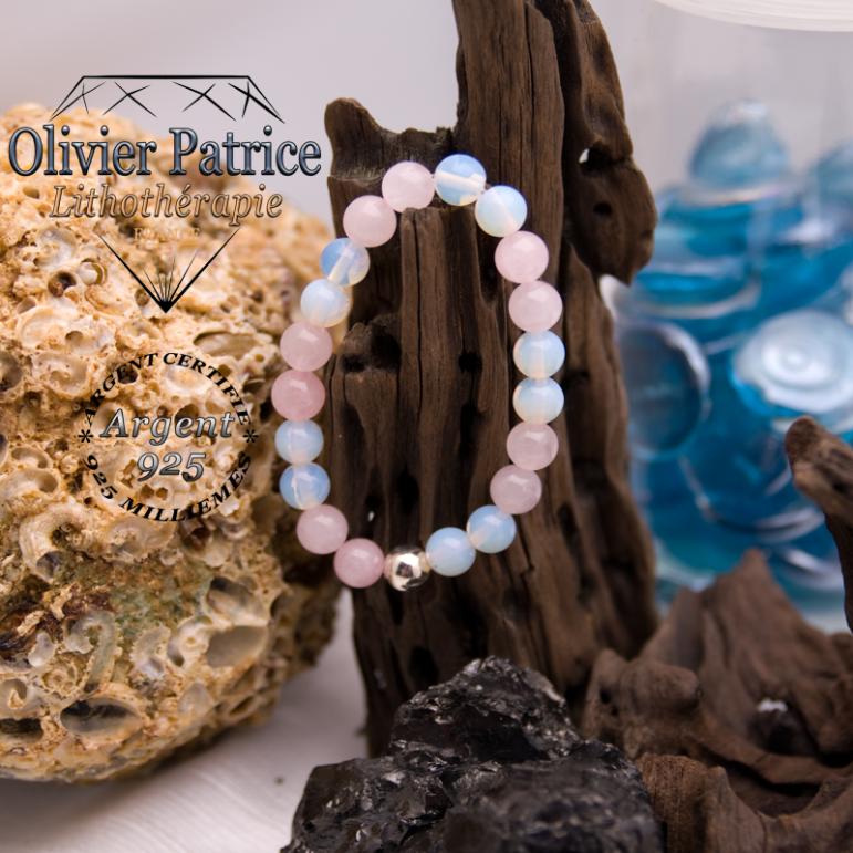 Bracelet en opale et quartz rose avec sa boule en argent 925