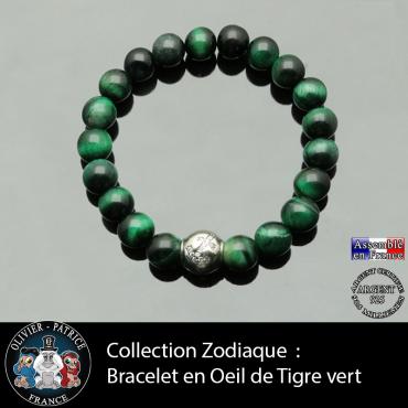 Bracelet oeil de tigre teinte verte et son signe astrologique boule zircon