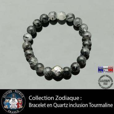 Bracelet quartz à inclusions de tourmaline et son signe astrologique boule zircon
