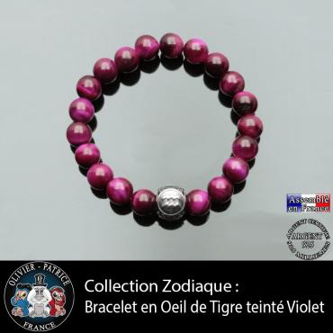 Bracelet pour homme et sa boule gravé en argent de son signe astro en pierre oeil de tigre teinte violette