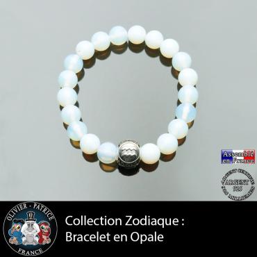 Bracelet pour homme en opale et son signe astrologique boule gravé 3 faces