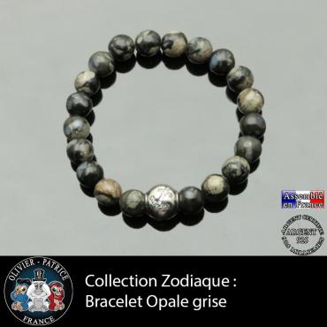 Bracelet opale grise et son signe astrologique boule zircon
