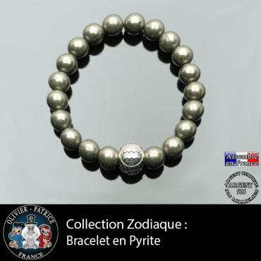 Bracelet en pierre naturelle pyrite et avec sa boule 3 faces en argent gravée de votre signe astrologique